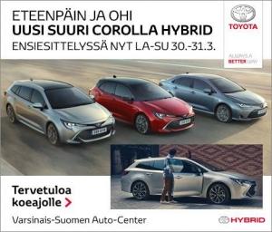 Uudestisyntynyt Corolla ensiesittelyssä nyt la-su 30.-31.3. Uusi Corolla Hybrid ei ole ainoastaan luokkaansa isompi, se on suuri. Suuri tehoiltaan, suuri mitoiltaan ja ennenkaikkea suuri ajettavuudeltaan – pientä on vain kulutus ja päästöt. Touring Sports, Hatchback vai Sedan? Koe ja aja suurin suosikkisi meillä. https://www.toyotaautocenter.fi/yritys/ajankohtaista/uusi-corolla-hybrid-perhe.html