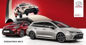 TOYOTA GAZOO Racing Yaris WRC saapuu puolustamaan Suomen MM-rallin voittoa elokuussa. Kotirallin kunniaksi tarjoamme nyt Aygo, C-HR Turbo Edition, Corolla Hatchback ja Touring Sports: 1.2T bensiini ja 2.0 Hybrid, Yaris-bensiini, Prius+ ja Prius -malleihin Podium Packin hintaan 490 €. Paketti sisältää talvirenkaat kevytmetallivantein, tavaratilan suojapohjan ja kumimatot. Tervetuloa tutustumaan!